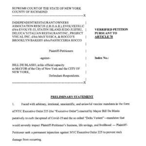 Read more about the article NEW: The Independent Restaurant Owners Association files lawsuit against NYC May