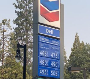 Read more about the article Gas prices in Northern California mountains this morning.  This is the Biden Tea