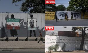 Read more about the article Taliban paint over murals of western symbols including one of George Floyd in Ka