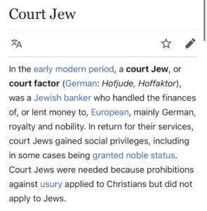 """Read more about the article 1. Have you ever heard of the term """"Hoftjude""""… it means """"Court Jews"""". Nobility h"""