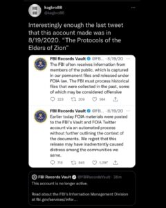 Read more about the article Oy vey they took down the fbi vaults twitter account, which the last tweet they