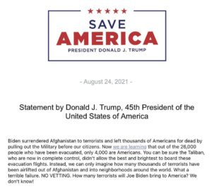 """Read more about the article NEW!  President Donald J. Trump:  """"Biden surrendered Afghanistan to terrorists a"""