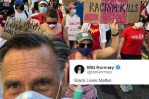 Read more about the article (RINO)Mitt Romney was so proud of himself for marching with communist BLM, he to
