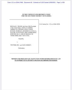Read more about the article Trump files a motion for Preliminary Injunction in his class action lawsuit ag