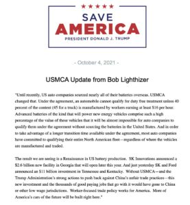 Read more about the article NEW!  President Donald J. Trump shares an update on the USMCA from Bob Lighthize