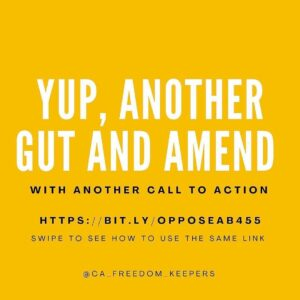 Read more about the article CALIFORNIA URGENT CALL TO ACTION: ANOTHER GUT & AMEND BILL in process.   This on